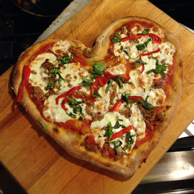 Pizza Love' -Heart shaped pizza