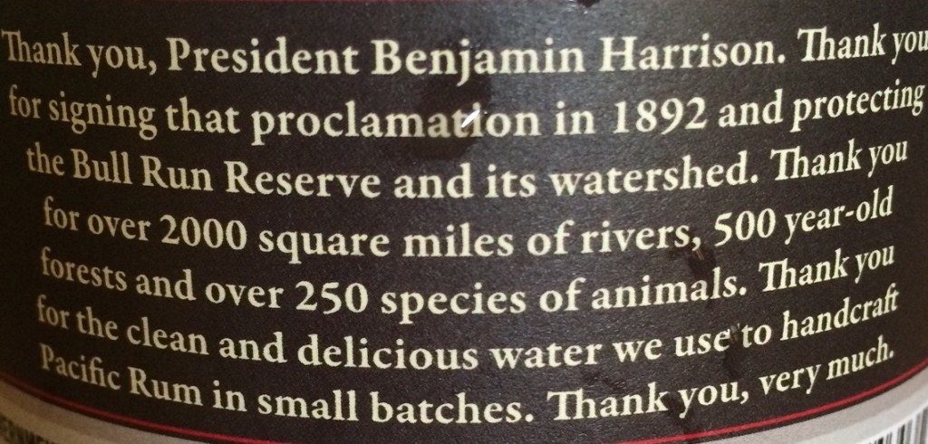 From Bull Run Distilling Company's Pacific Rum label